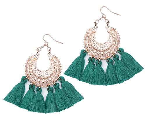 Rose Gold Tassel Earrings: Green fringe gifts for women. Fashion drop dangle tassle earing by BLUSH & CO. (Emerald Green)