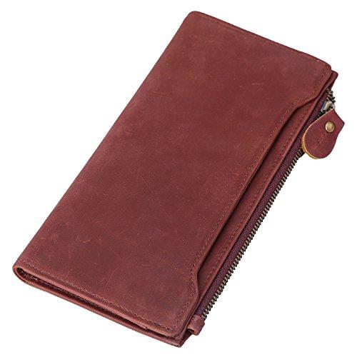 Polare Vintage Natural Top Grain Leather Bifold Wallet Zipper Clutch Checkbook Case
