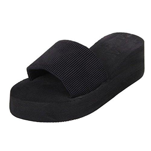 Xinantime Sandalias las deslizador sandalias verano Negro del Bohemia Las mujeres del BB45q