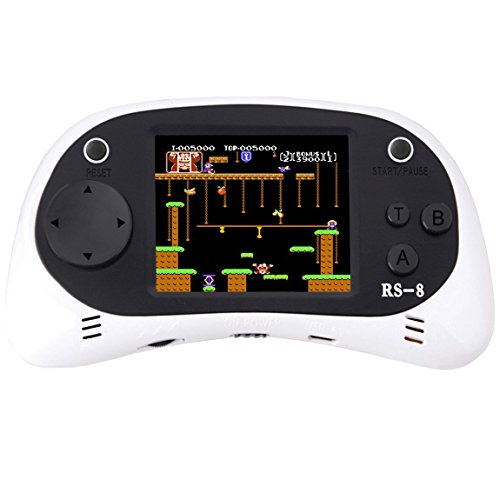 """Kids Handheld Game Console Retro Video Game Player Portable Arcade Gaming System Birthday Gift for Children Travel Holiday Recreation 2.5"""" Color LCD Screen 8 Bit 260 Classic Games (White)"""