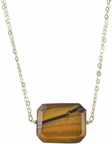 Mia Diamonds 14k Yellow Gold 7x5mm Emerald Cut Citrine bezel pendant