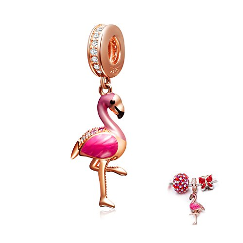 ENJOOOY Sterling Silver Pink Flamingo Charm Rose Gold Charm Pendant fit Women Pandora Style Bracelets ()