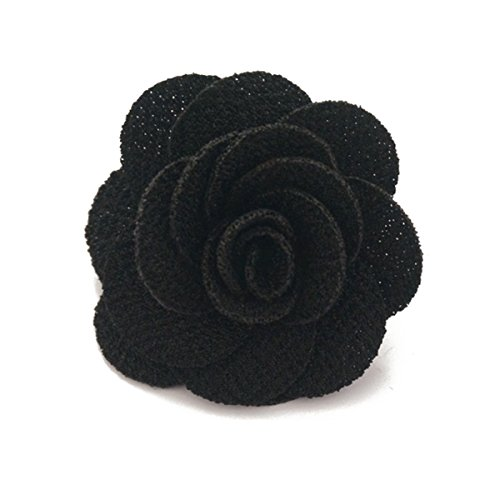 Sunny Home Men's Lapel Flower Handmade Boutonniere Pin for Suit (Black)