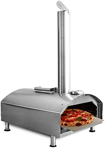 "Deco Chef Outdoor Pizza Oven with 2-in-1 Pizza and Grill Oven Functionality, 13"" Pizza Stone, Portable Stainless Steel Construction, Pizza Peel, Dough Scraper, Scoop, Slotted Grill"