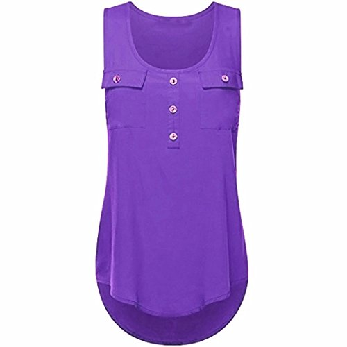 Plus Size Tank,NEWONESUN Women's Casual T-Shirt O-Neck Sleeveless Vest Sexy Loose Tops (X-Small, Purple)