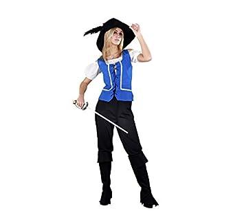 Disfraz barato de Mosquetera azul para mujer M-L: Amazon.es ...
