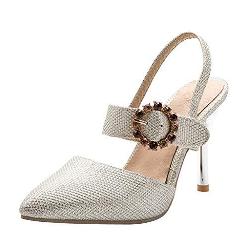 Nuewofally Women's Shoes Summer Pointed High Heel Buckle Strap Rhinestone Fashion Party Slim Elegant Sandals Silver