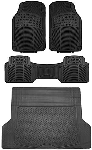 FH Group F11306 + F16400 Trimmable Vinyl Floor Mats (Black) Full Set – Universal Fit for Cars Trucks and SUVs