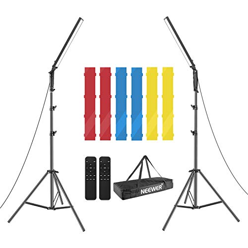 Neewer LED Video Light Stick Kit, 2-Pack Handheld Video Lighting Dimmable 3200~5600K with 210 LED Beads/Stand/Infrared Remote Control/Color Filters/Carry Bag for Photo YouTube Video Photography Gaming