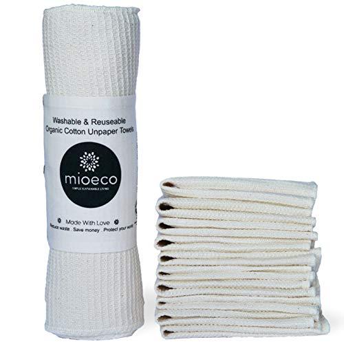 Unpaper Towel, Eco-friendly Paperfree Kitchen Roll & Dish Rag Cloth Alternative, 100% Organic Cotton, 10 Pack ()