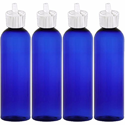 MoYo Natural Labs 4 oz Squirt Bottles, Squeezable Empty Travel Containers, BPA Free PET Plastic for Essential Oils and Liquids, Toggle Toiletry/Cosmetic Bottles (Neck 24-410) (Pack of 4, Blue)
