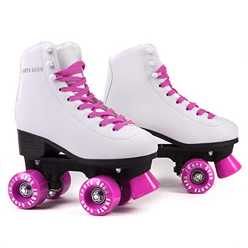 C SEVEN Classic Retro Roller Skates for Kids and Adults (Pink, Men