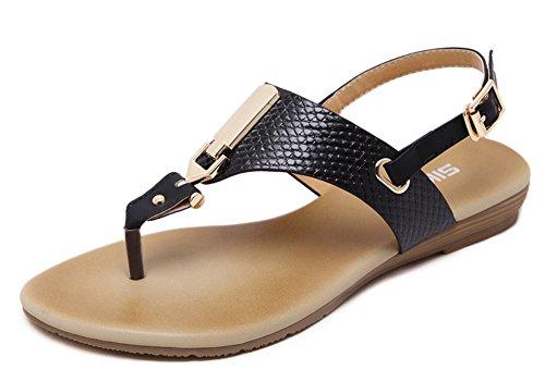 Aisun Women's Stylish Throng Ankle Strap Sandals Black 663YwrTz
