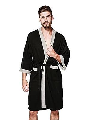 Jearey Men's Kimono Robe Cotton Waffle Spa Bathrobe Lightweight Soft Knee Length Sleepwear With Pockets
