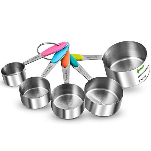 IPOW Verdickter Griff 5er Set von 304 Edelstahl Messbecher Messlöffel Amerikanische Cups mit Silikon Griff, Multifunktions für Küche Kochen Backen
