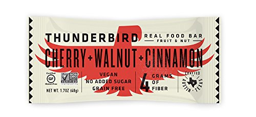 Thunderbird Paleo and Vegan Real Food Energy Bars - Cherry Walnut Cinnamon - Box of 15 - No Added Sugar, Grain and Gluten Free, Whole 30, - Pecan Cherry