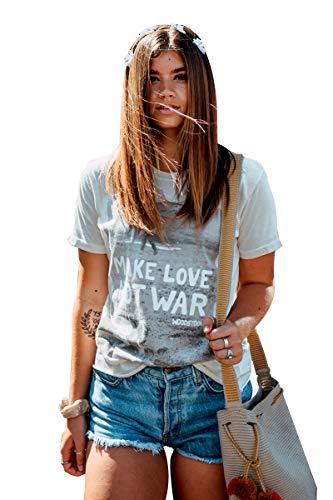 Life Clothing Co. Women's Fashion Tops Woodstock Make Love Not War T-Shirt Tee Cream - Ladies Woodstock Tee