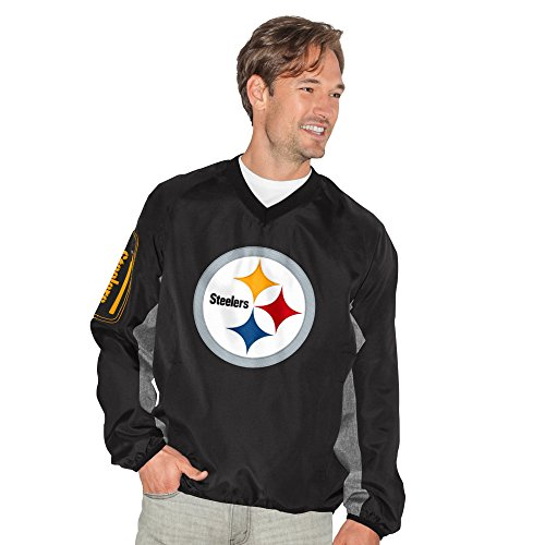 Pittsburgh Steelers Gridiron (NFL Pittsburgh Steelers Adult Men Gridiron V-Neck Pullover, Medium, Black)