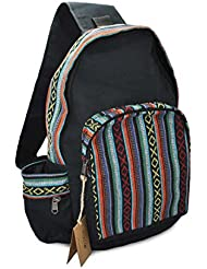Mato Boho Sling Bag Backpack Bohemian Tribal Aztec Woven Baja Pattern One Shoulder Daypack Black