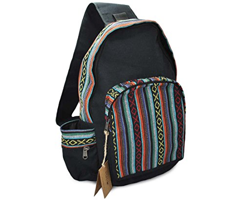 Mato Boho Sling Bag Backpack Bohemian Tribal Aztec Woven Baja Pattern One Shoulder Daypack Black
