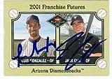 Luis Gonzalez & Jack Cust autographed Baseball Card (Arizona Diamondbacks) 2001 Fleer Platinum Rookie #463