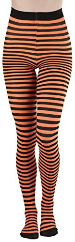 ToBeInStyle Women's Colorful Opaque Striped Tights Pantyhose Stocking Hosiery - Black/Neonorange - One ()