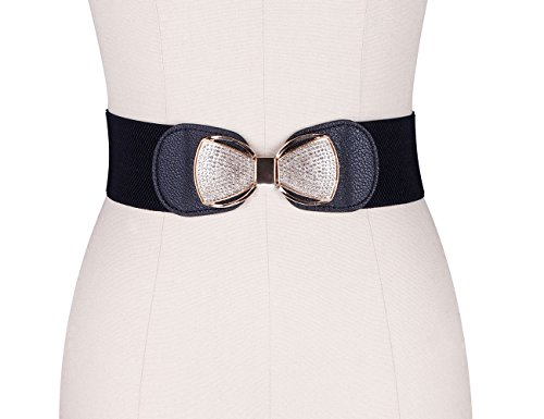 ADAMARIS Women's Fashion Metal Bow-Knot Buckle Elastic Stretch Wide Waist Belt (Waist Your)