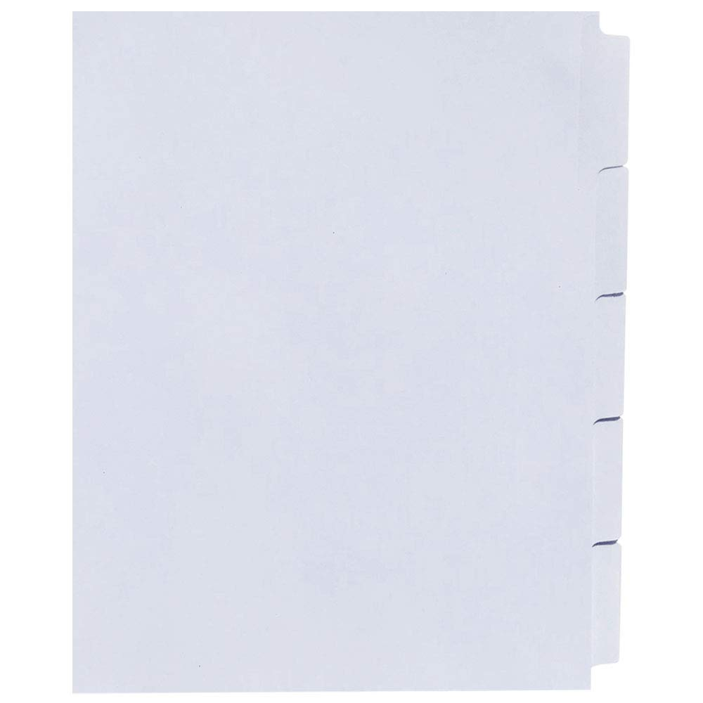 AMZfiling Never-Jam Custom Blank Copier Tabs with Printable Mylar- 5 Tab Dividers, White, 1/5 Cut, Straight Collated, Unpunched (1250/Carton)