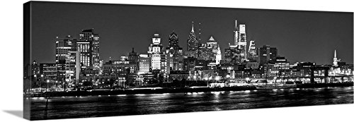 CANVAS 2018 Philadelphia Skyline 2018 NIGHT 16 inches x 46 inches PHILLY B&W City Photographic Panorama Print -