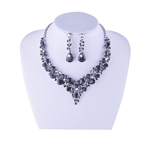 9ba66ab7b1 Youfir Bridal Austrian Crystal Necklace and Earrings Jewelry Set Gifts fit  with Wedding Dress