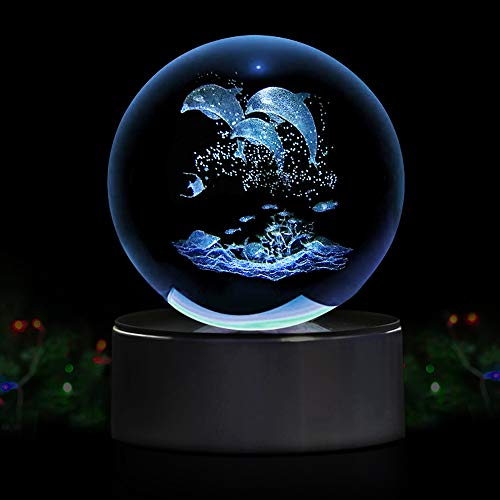 (Dolphin 3D Crystal Ball LED Night Light with Base, Clear 80mm (3.15 inch) Dolphin Crystal Ball,Advanced Laser Engraving, Ideal Present for Kids, Friends, Perfect for Home, Offices etc)