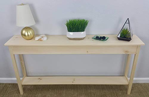 60' Unfinished Pine Wall, Foyer, Sofa, Console, Hall Table With Bottom Shelf