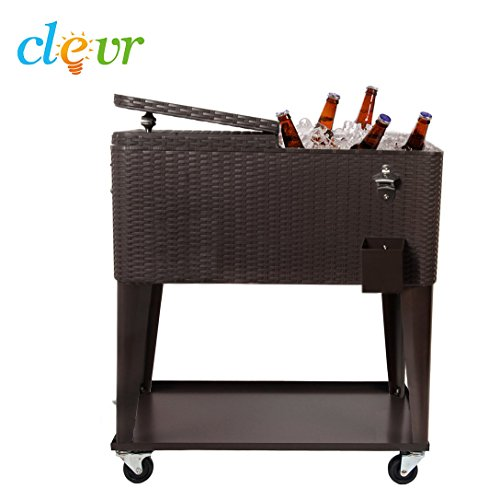 Clevr 80 Qt Outdoor Patio Rolling Ice Chest Cooler Cart, Dark Brown Wicker Faux Rattan   Portable Party Drink Beverage Bar Cold   Wheels with Shelf & Bottle Opener by Clevr (Image #3)