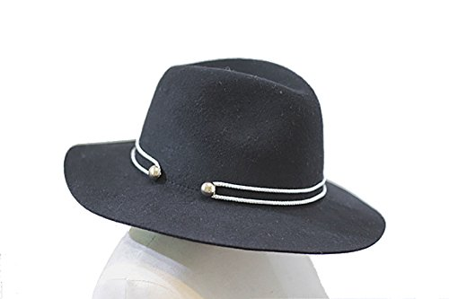 NE Norboe Women's Black Wide Brim Wool Panama Fedora Hat Cap with Strap Belt