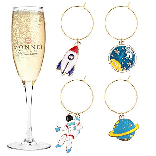 (P422 Brand New Astronaut Saturn Rocket Wine Charms Glass Marker for Party with Velvet Bag- Set of 4)