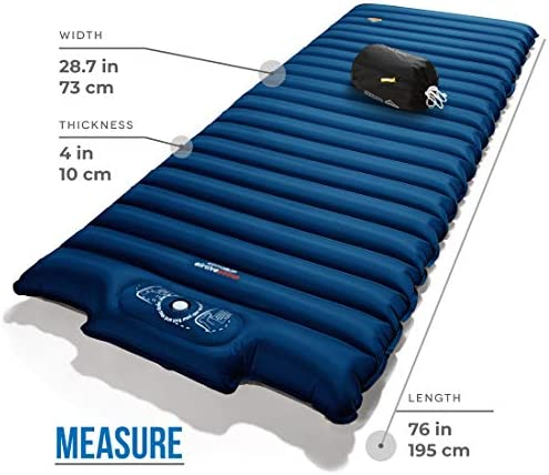 ZOOOBELIVES Extra Thickness Wide Plus Sleeping Pad with Built-in Pump, Inflatable Camping Mattress of Ultimate Comfort for Car Camping, Tent, and Backpacking, Lightweight Compact Airlive2000P