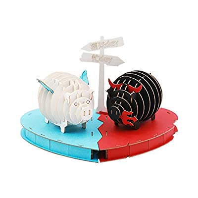 Craft DIY Assembly Pig The Devil and The Angel Entertainment Educational Engineering Handwork Home Decoration Lovely Toys for Kid: Toys & Games