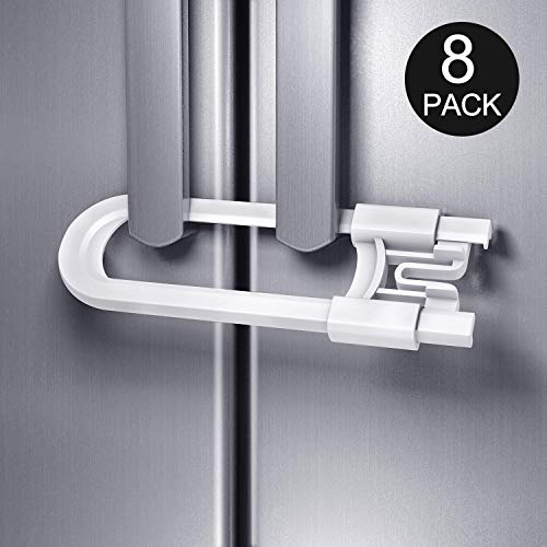 Adoric 8 Pack Baby Safety Locks for Cabinet, U Shaped Sliding Cabinet Locks, Childproof Cabinet Latch for Kitchen, Knobs and Handles (White)