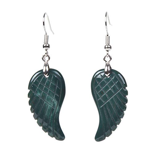 Natural Greenish Indian Agate Gemstone Crystal Healing Reiki Chakra Handmade Angel Wing Dangle Earrings