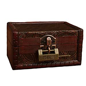 Vintage Style Wood Treasure Chest Jewelry Box Case Party Accessory with Lock