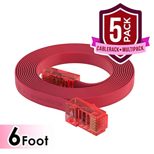 CableRack 6ft Rollover Console Cable RJ45 to RJ45 Male for Cisco 72-3383-01 Red (5-Pack)