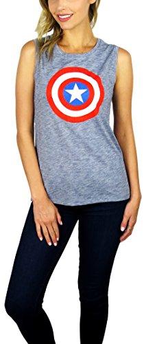 Marvel Womens Captain America Sleeveless Tank Top (Navy Heather, Large) ()