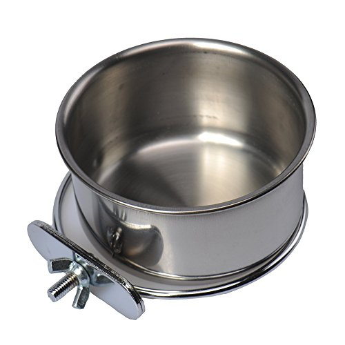 Hypeety Stainless Steel Food Water Bowl For Pet Bird Crates Cages Coop Dog Cat Parrot Bird Rabbit Pet (Small,105cm)