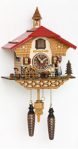Quartz Cuckoo Clock Black Forest house with moving beer drinker and mill wheel, with music TU 4215 QM by Trenkle Uhren (Image #1)