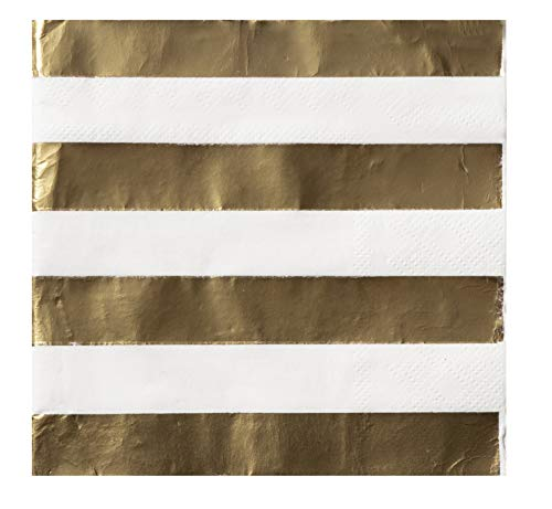 (Cocktail Napkins - 100-Pack Luncheon Napkins, Disposable Paper Napkins Party Supplies, 3-Ply, Gold Foil Stripes Designs, Unfolded 10 x 10 Inches, Folded 5 x 5 Inches)