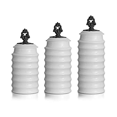 American Atelier Rani 3 Piece Canister Set, White