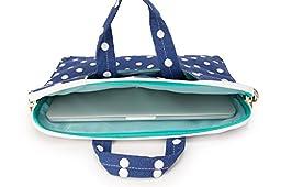 Canvaslove Blue Dot Canvas Laptop Shoulder Messenger Bag Case Sleeve 15 inch for 14 Inch 15.6 Inch Laptop Macbook Pro 15 Case Laptop Briefcase 15.6 Inch