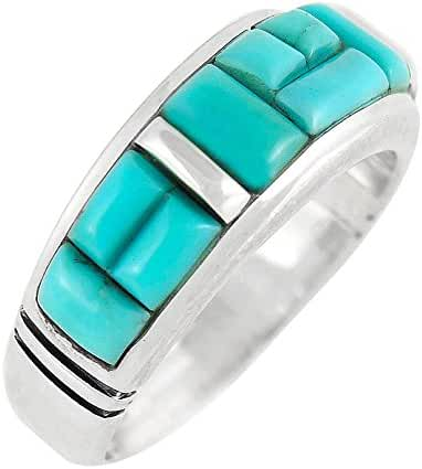 Turquoise Ring in 925 Sterling Silver & Genuine Turquoise (Unisex Size 5 to 13)