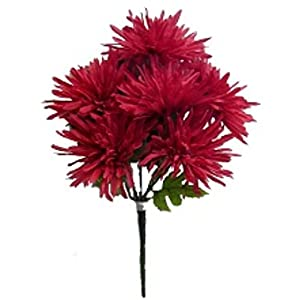 "13"" Fuji Mum Bush Artificial Silk Wedding Craft Flowers Bouquet Home Party Decoration 6 Mums 72"