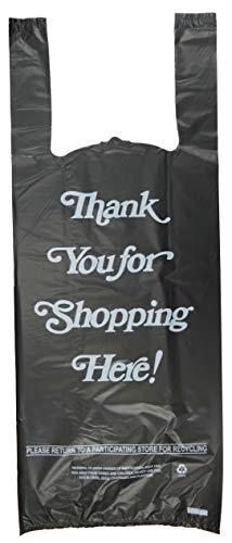 (Plastic Bag- 'Thank You' White Print 2 bottle Liquor Black T Shirt Bag 8